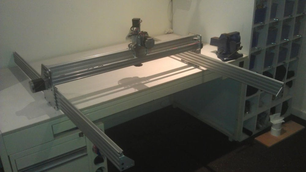Photo of CNC gantry on rails.